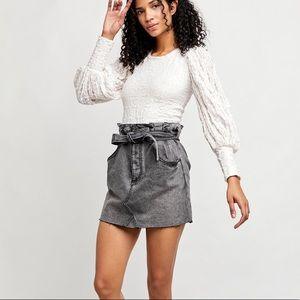 Free People East of Eden denim mini skirt